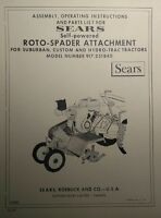 Sears Roto-spader (5 Books) 3-point Garden Tractor Owner, Parts, Link Kit Manual