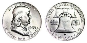 1959-P-Franklin-Half-Dollar-Brilliant-Uncirculated-BU