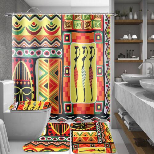 4x AUGIENB Bathroom Waterproof Shower Toilet Seat Waterproof Shower Curtain Set