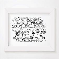 `Noir Paranoiac` MICHAEL JACKSON Art Print Typography Lyrics Signed Wall Poster