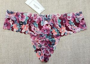 GILLY-HICKS-by-Abercrombie-Hollister-PANTIES-Thong-Floral-Lace-Purple-M-L-NWT