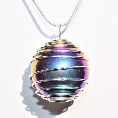 "Rainbow Angel Aura Quartz Crystal Perfect Pendant™ 20/"" Silver Chain WOW!!!"