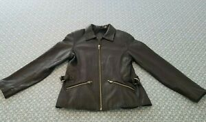 Preston & York Lambskin Hip Cut Leather Women's Coat Size Petite Small