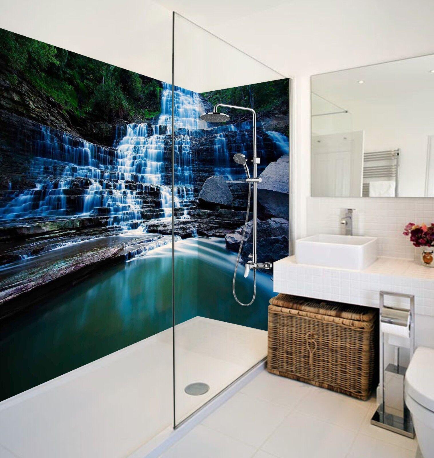 3D Waterfall Steps WallPaper Bathroom Print Decal Wall Deco AJ WALLPAPER UK