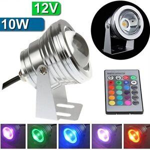 Faro faretto lampada cob led rgb 10w watt 12v esterno for Faretto led rgb