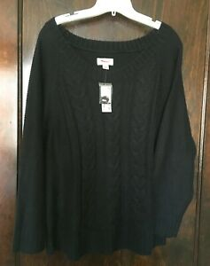 Avenue-Sz-14-16-Black-Soft-Cable-Knit-Sweater-1X-Womens-NWT