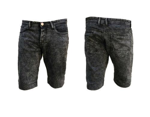 Homme Short en jean stretch coupe slim régulière Moitié Jeans Short Bleu Foncé acide