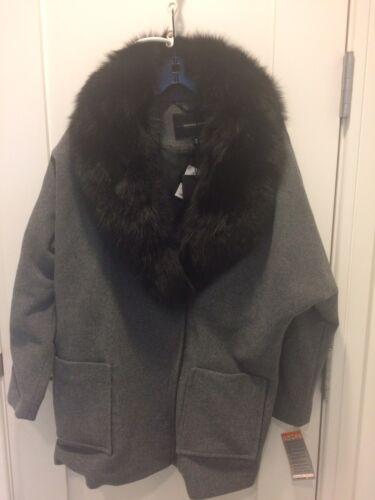 Fox Graphite Size Andrew Marc Nwt Fur Carine 995 8 Collar Retail Black Coat RI566qA