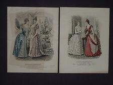 "2 1800s French Color Fashion Prints-""Magasin Des Demoiselles""-1889 & Undated"