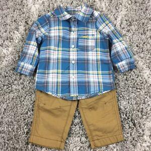 NWT Carter/'s 2-Piece Plaid Shirt and Khaki Pants Set Size 6 Months