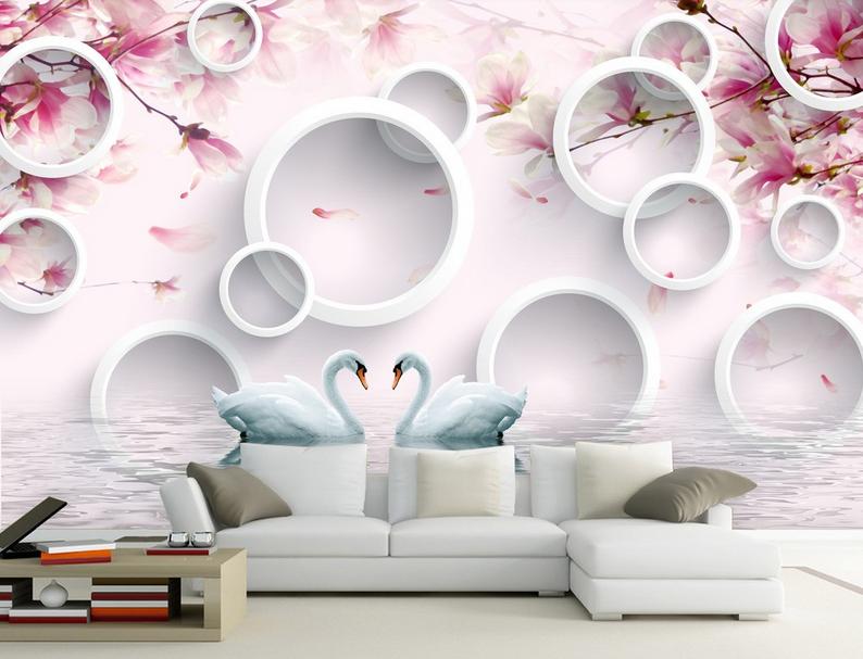 3D Blumen Schwanensee 50 Tapete Tapeten Mauer Foto Familie Tapete Wandgemälde DE