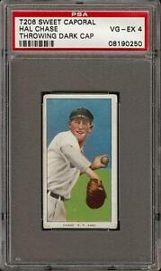 Rare 1909-11 T206 Hal Chase Black Sweet Caporal 350-460/42 New York PSA 4 VG-EX