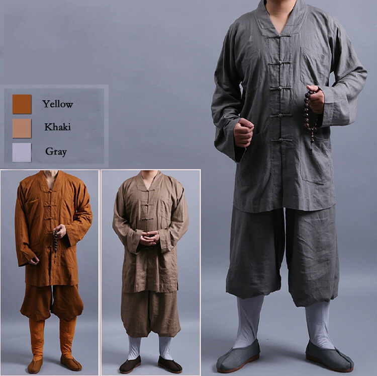 Shaolin KungFu Zen Monk Lay Buddhists Meditation Uniform clothing Long gown Suit