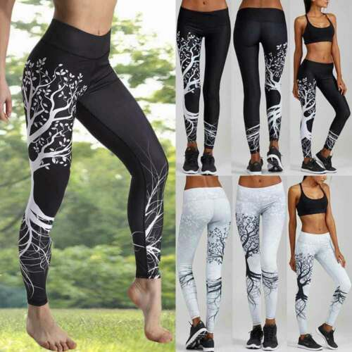 Women High Waist Yoga Pants PUSH UP Leggings Exercise Workout Trousers Sports Y1