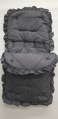 Beautiful. Pram Cosytoes / Footmuff Colour Charcoal Grey / Charcoal Bows Lustro