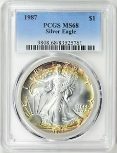 1987-1-Silver-Eagle-PCGS-MS68-Blue-Label-Nicely-Toned