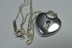 "Vintage Tiffany &Co 1"" Silver Padlock Heart Lock Heavy Chain Necklace 16"""