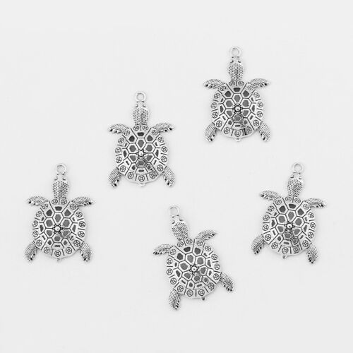5 Antique Silver Sea Turtle Hollow Charms Pendants Animals Jewelry Findings
