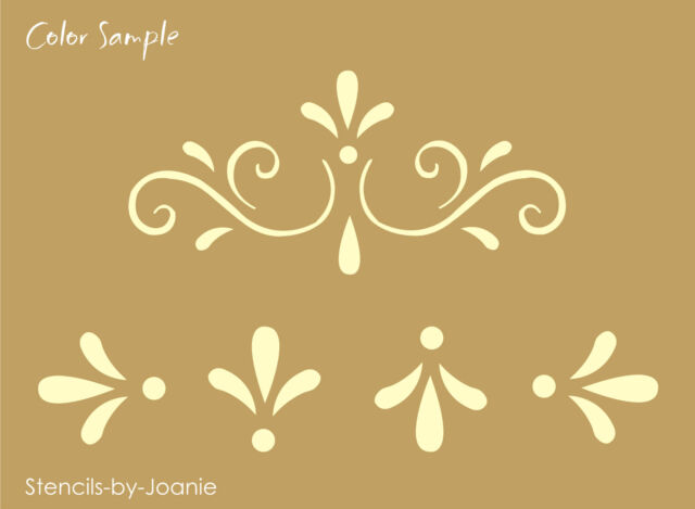 Joanie Stencil Fancy Scroll Folk Art Swirl Tulip Flourish Design craft art Sign