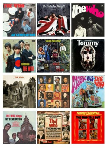 THE WHO SET OF 12 FLEXIBLE THIN FRIDGE MAGNETS MUSIC GIFT BAND MUM DAD NO UK P/&P