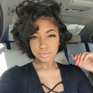 Details about Women Short Black Front Curly Hairstyle Synthetic Natural  Hair Wigs For Ladies
