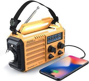 5-way Powered Weather Radio 5000mAh NOAA Emergency Solar Crank AM/FM/SW SOS Lamp