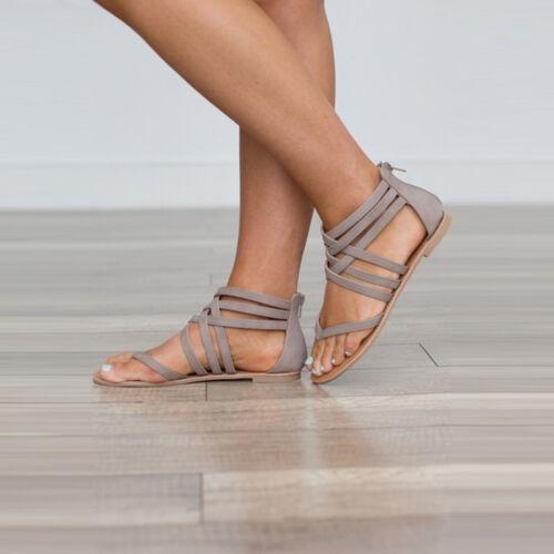 Women Ankle Cross Strap Open Toe Flat Gladiator Sandals Casual Zip Roman Shoes