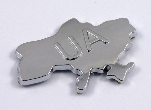 Ukraine Map Ukrainian UA Chrome Car emblem Auto Decal badge 3D sticker