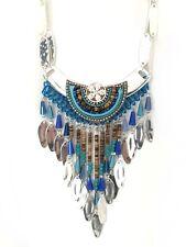 """** Collier plastron """"INDIAN"""" Perle Bleu, bois & pendant métal / indien bohème **"""