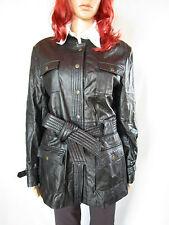 CONBIPEL para Mujeres Vintage 90s Retro Negro Cuero Chaqueta Tapado de lluvia Talle 16 XL AP46