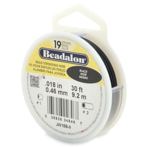 "Beadalon Black .018/"" Bead Stringing Wire 19 Strand Flex Wire 30ft"