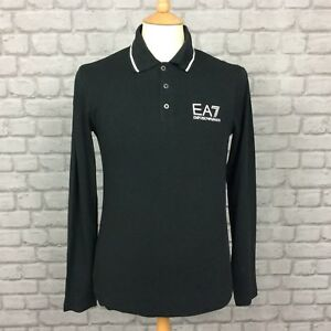 EA7-EMPORIO-ARMANI-MENS-UK-S-BLACK-LONG-SLEEVE-POLO-SHIRT-DESIGNER-CASUAL-SMART