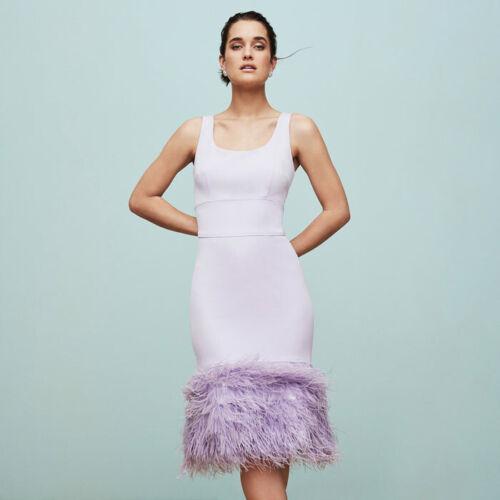 Coast Purple Hannah Feather Hem Midi Gatsby Flapper Body Occasion Dress 6 to 18