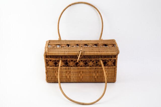 Japanese Bamboo Woven Basket Box Bag 23075 Ebay