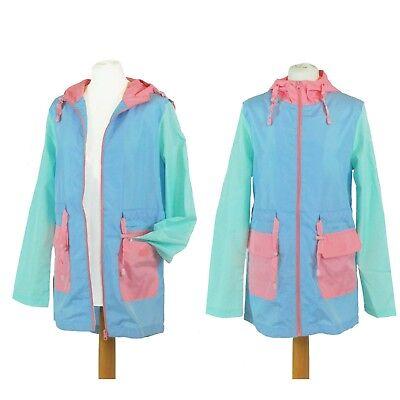 Pink Blue Green Pastel Mac Raincoat Jacket Coat Rave//Festival 8 10 12 14 16