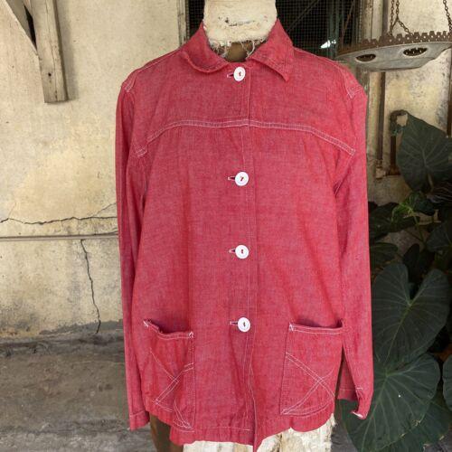 Vintage 1930s 1940s Red Denim Selvedge Chore Coat