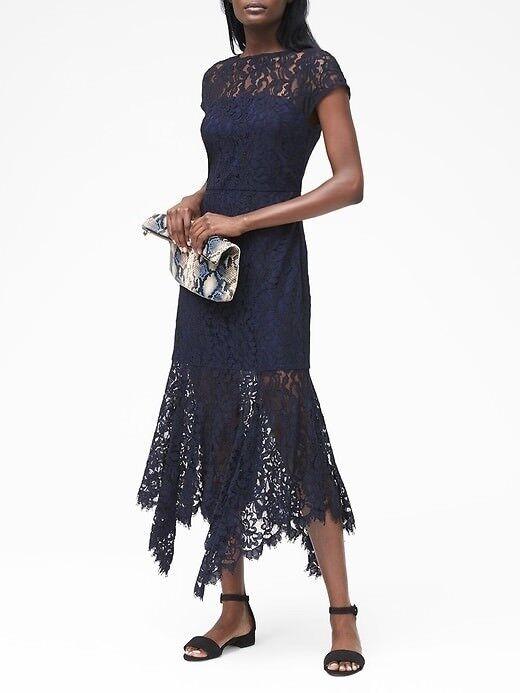 Banana Republic Lace Trumpet Midi Dress, sz 4 Tall  NAVY