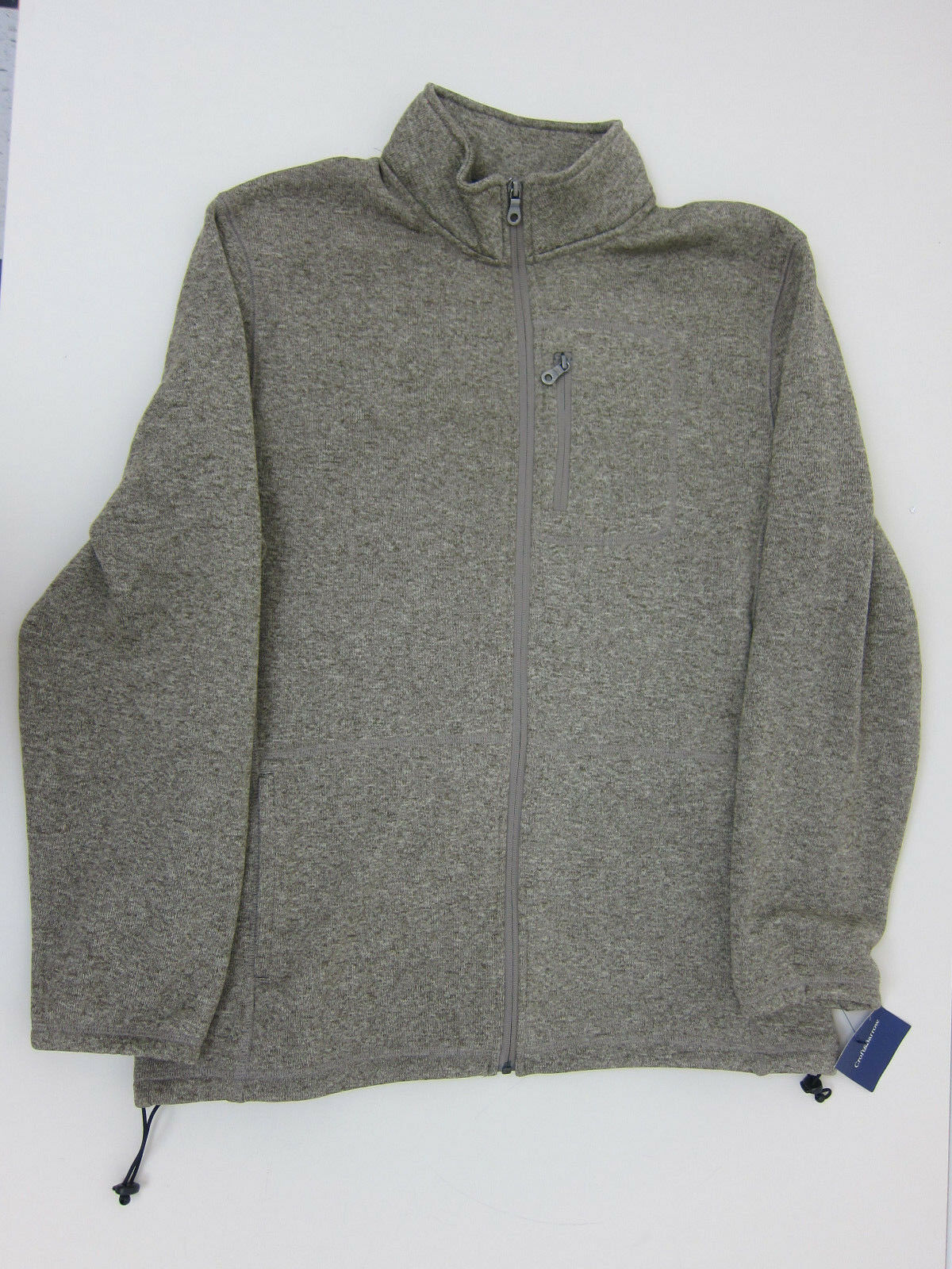 Croft & Barrow Full Zip Sweater - Mens Large - Weathered Brown - NWT