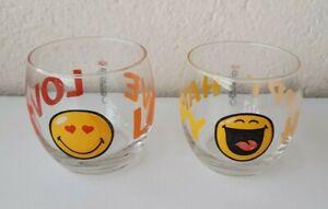 """2 VERRES DE COLLECTION QUICK """" SMILEY """" LOVE + HAPPY"""