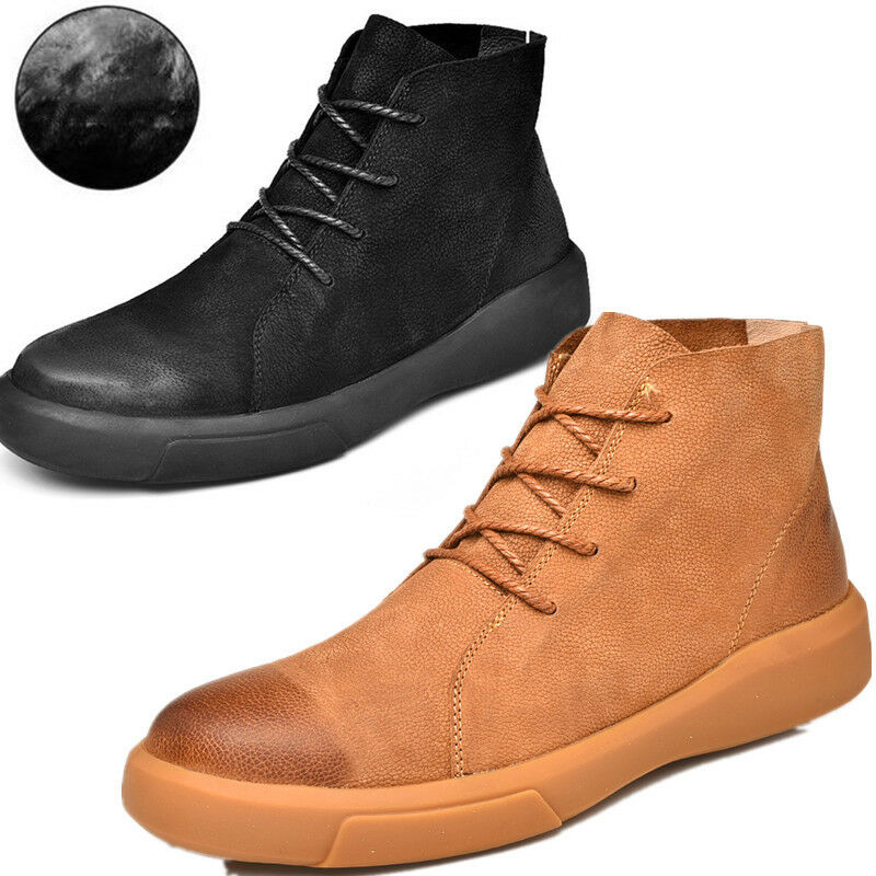 Winter Snow Boots Mens Work Boots Waterproof Leather Rubber High Top Size 7-13