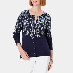 Karen Scott Women's Floral-Print Cardigan Blue Size Small