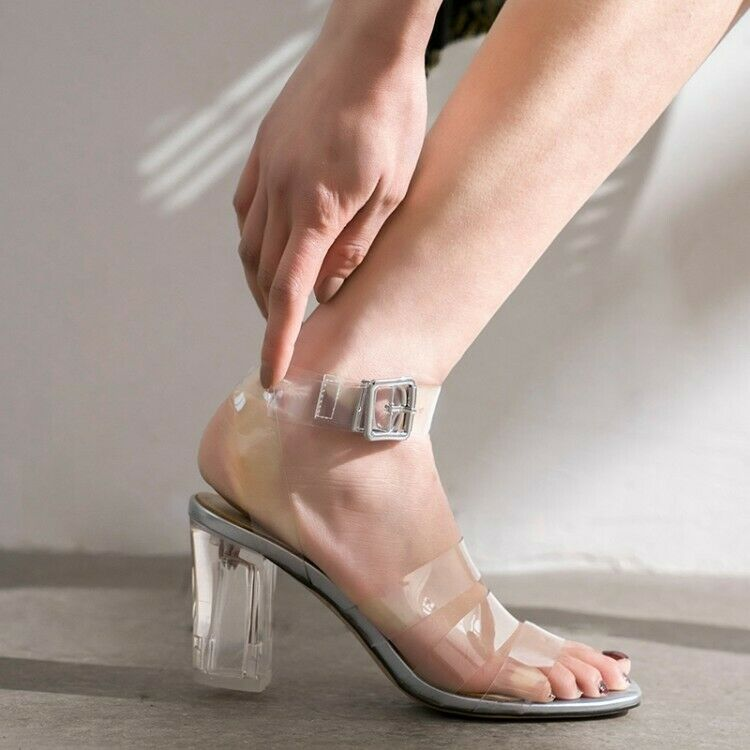 Womens Clear Block High Heel Sligback Buckle Sandals Open Toe Fashion shoes