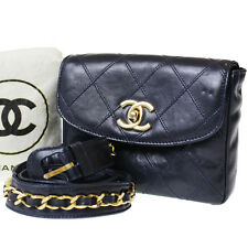 CHANEL Matelasse Quilted Chain Belt Bum Bag Navy Leather Vintage Auth #8198 M