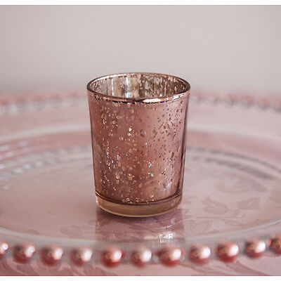 Rose Gold / Champagne / Silver Glass Tea light Candle Holder 3 Sizes Wedding