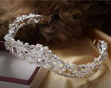 Pearl Crystal Crown Diamante Wedding Headband Crystal Bridal Accessories 1 Piece