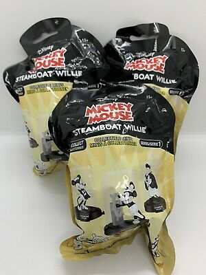 """3x STEAMBOAT WILLIE DOMEZ MICKEY DISNEY 2/"""" COLLECTIBLE BLIND MINI FIGURE NEW"""