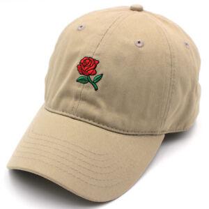 ea1dad36aa169 Rose Dad Hat Adjustable 100% Cotton Flower Embroidered Cap Lit Emoji ...