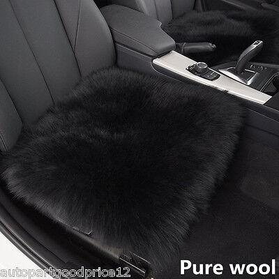 "1xBlack Genuine Sheepskin Long Wool Car SUV Seat Cover Chair Cushion Mat 18""x18"""