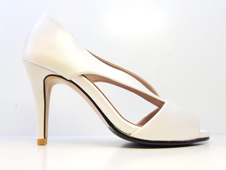 Solely Original Bespoke Satin Peep Toe Heels Ivory Weiß Größe UK 3