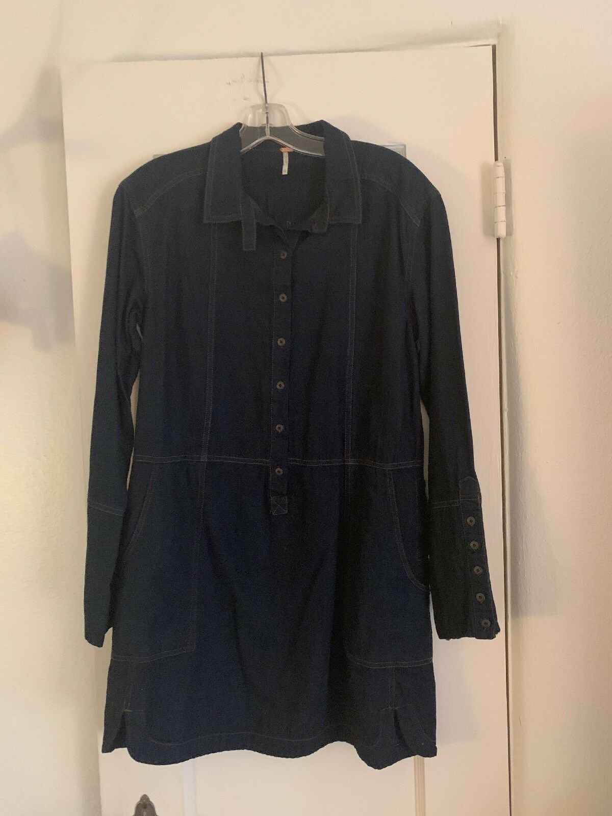 Women's Free People 70's Gummy Denim Dress EUC XS